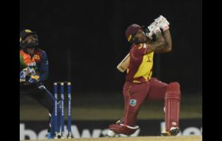 Fabian Allen plays a shot during his knock of 21 runs to help the West Indies beat Sri Lanka in the final T20I yesterday.